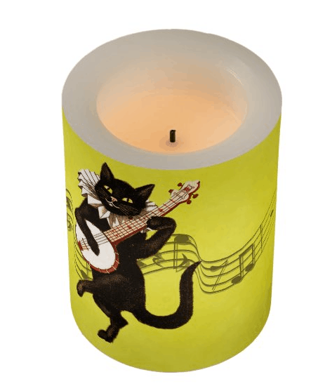 Cat Playing the Banjo on Yellow Flameless Candle