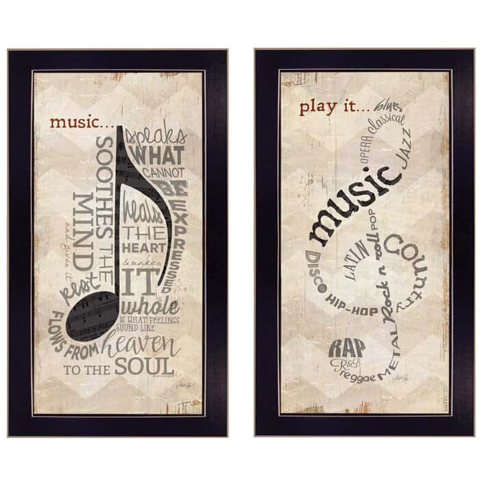 Music Note Picture Frame Textual Art Set